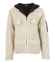 Men cardigan wool cardigan with fleece lining and long zip hood 001