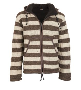 Warm cardigan in wool jacket with fleece lining and detachable hood – Bild 1