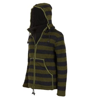 Warm cardigan in wool jacket with fleece lining and detachable hood – Bild 4