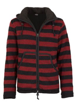 Warm cardigan in wool jacket with fleece lining and detachable hood – Bild 5