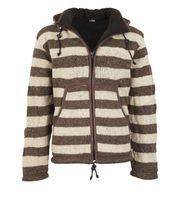 Warm cardigan in wool jacket with fleece lining and detachable hood 001
