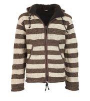 Warme Strickjacke aus Wolle Jacke mit Fleecefutter und abnehmbarer Kapuze 001