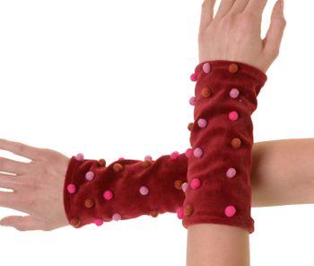 Samt Armstulpen Stulpen Handwärmer mit lustigen Filzkugeln – Bild 7