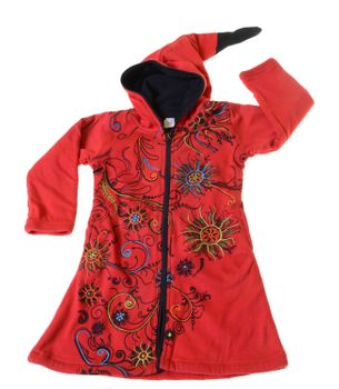 Kids Hippie Jacket with Elfin Hood Goa Psy Gnome Fantasy Flowers – Bild 2