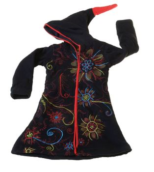 Kids Hippie Jacket with Elfin Hood Goa Psy Gnome Fantasy Flowers – Bild 1