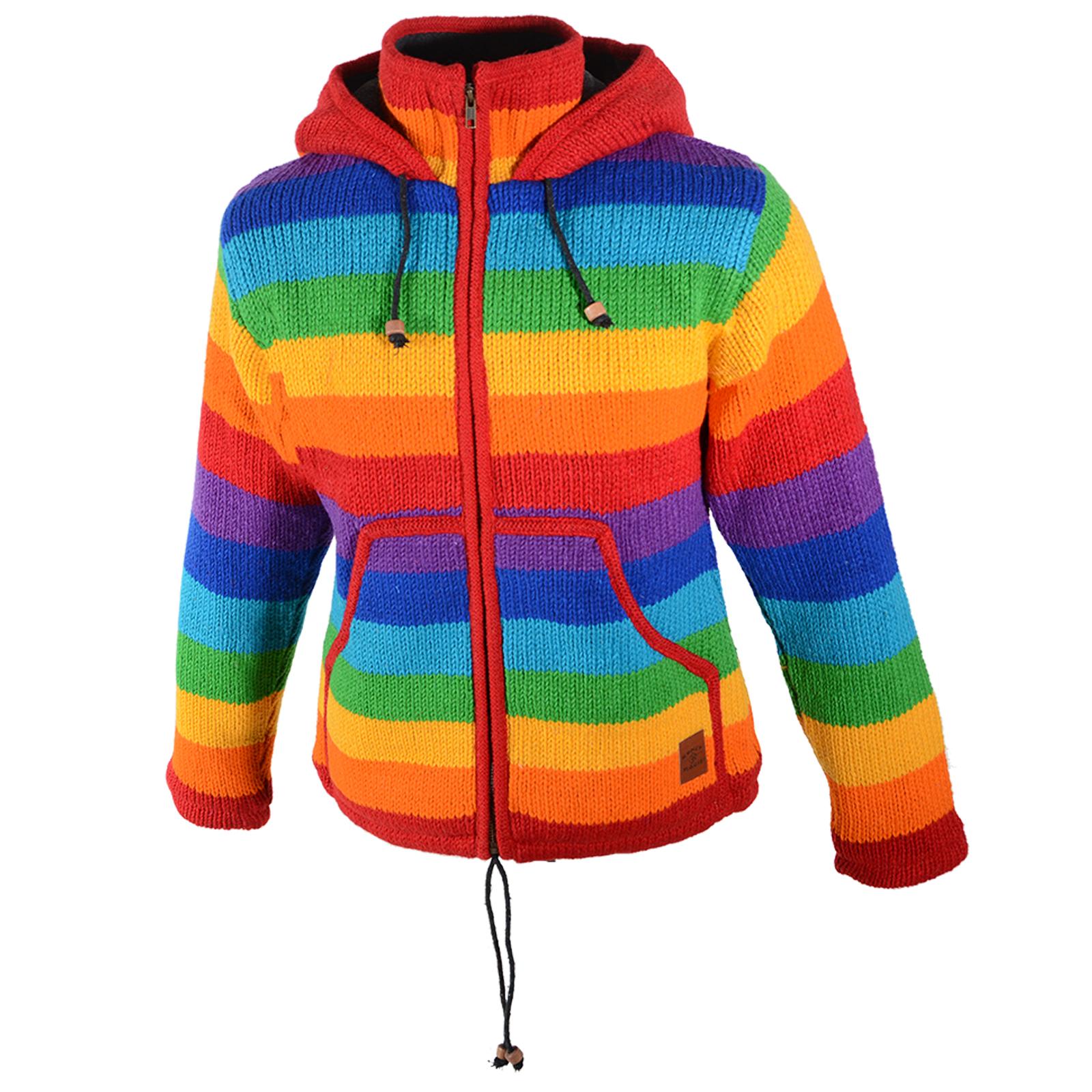 7aaf8452645c Damen Regenbogen Strickjacke Goa Wolle Jacke mit Fleecefutter und  Zipfelkapuze