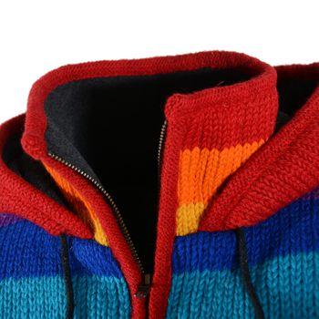 Damen Regenbogen Strickjacke Goa Wolle Jacke mit Fleecefutter und Zipfelkapuze – Bild 6