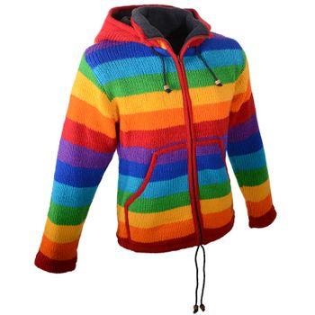 Damen Regenbogen Strickjacke Goa Wolle Jacke mit Fleecefutter und Zipfelkapuze – Bild 3
