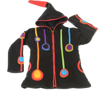 Funny Gnome Jacket with Hood in Black and Rainbow Colors