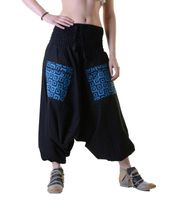 Harems pants in light cotton fabric - beach pants, wellness pants 001
