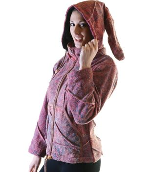 Ethno Hippie Women's Knit Jacket with Detachable Elfin Hood – Bild 2