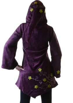 Elfin Shirt Velvet Medieval Tunic with Elfin Hood Flower Embroideries – Bild 6