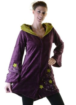Elfin Shirt Velvet Medieval Tunic with Elfin Hood Flower Embroideries – Bild 5