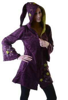 Elfenhafte Samtjacke mit Zipfelkapuze mit Blumenstickerei – Bild 2