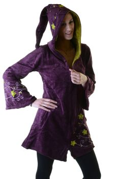 Elfin Shirt Velvet Medieval Tunic with Elfin Hood Flower Embroideries – Bild 10