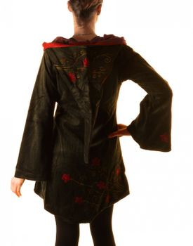 Elfin Shirt Velvet Medieval Tunic with Elfin Hood Flower Embroideries – Bild 4