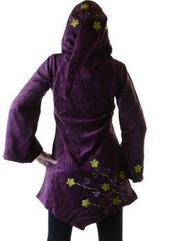 Elfenhafte Samtjacke mit Zipfelkapuze mit Blumenstickerei – Bild 6