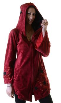 Elfin Shirt Velvet Medieval Tunic with Elfin Hood Flower Embroideries – Bild 7