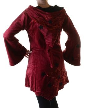 Elfin Shirt Velvet Medieval Tunic with Elfin Hood Flower Embroideries – Bild 8