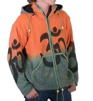 Unique Men's OM Batik Knit Jacket with Detachable Elfin Hood Hippie – Bild 2