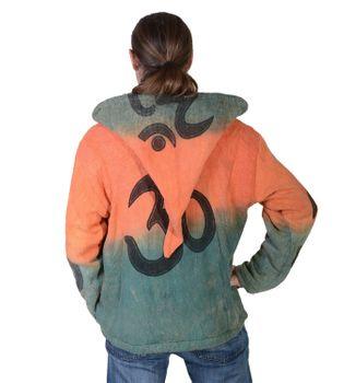 Kunst und Magie Männer OM Batik Strickjacke mit abnehmbarer Zipfelkapuze Hippie – Bild 4