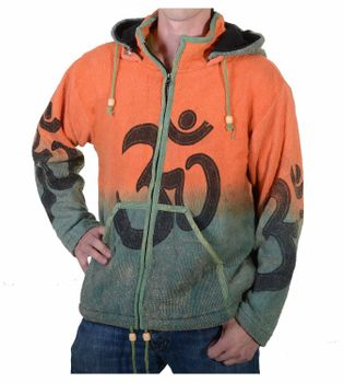 Unique Men's OM Batik Knit Jacket with Detachable Elfin Hood Hippie