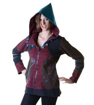 Hoodie / Sweat Jacket with Elfin Hood Goa Psy Hippie Fraggle – Bild 3
