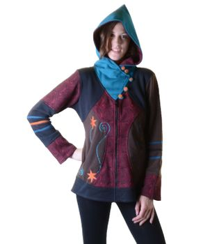 Hoodie / Sweat Jacket with Elfin Hood Goa Psy Hippie Fraggle – Bild 4