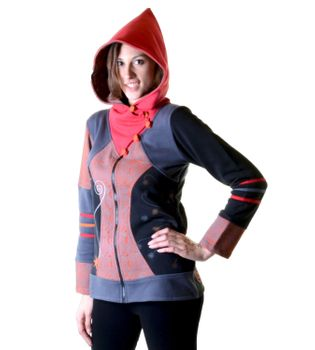 Hoodie / Sweat Jacket with Elfin Hood Goa Psy Hippie Fraggle – Bild 8