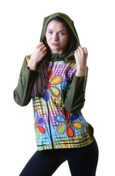 Batik Cutwork Hippie Sweatjacke with detachable zip hood – Bild 6