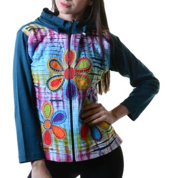 Batik Cutwork Hippie Sweatjacke with detachable zip hood – Bild 8