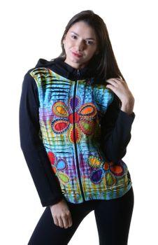 Batik Cutwork Hippie Sweatjacke mit abnehmbarer Zipfelkapuze – Bild 1