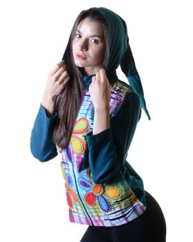 Batik Cutwork Hippie Sweatjacke with detachable zip hood – Bild 9