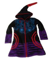 Kids Hippie Jacket with Funny Elfin Hood Gnome Style Black/Blue/Purple