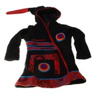 Kids Hippie Jacket with Funny Elfin Hood Patchwork Black/Red/Blue 001