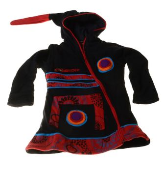 Kids Hippie Jacket with Funny Elfin Hood Patchwork Black/Red/Blue