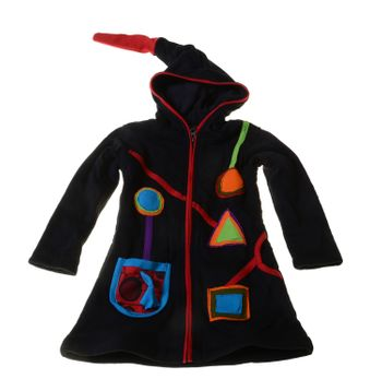 Kids Hippie Jacket with Funny Elfin Hood Patchwork – Bild 1