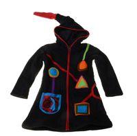 Kinder Hippie Jacke mit Zipfelkapuze Goa Psy Wichtel Schwarz/Kunterbunt 001