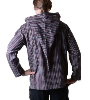 Striped Fisherman Shirt Kurtha Poncho Medieval with Hood – Bild 20