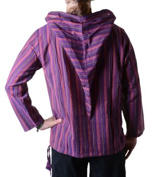 Striped Fisherman Shirt Kurtha Poncho Medieval with Hood – Bild 10