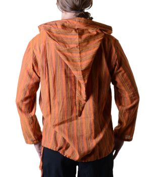 Striped Fisherman Shirt Kurtha Poncho Medieval with Hood – Bild 8