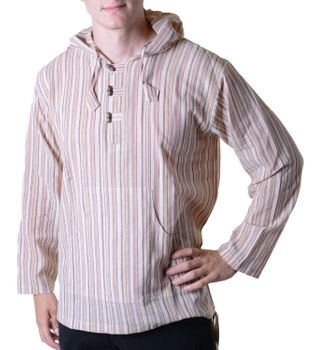 Striped Fisherman Shirt Kurtha Poncho Medieval with Hood – Bild 4