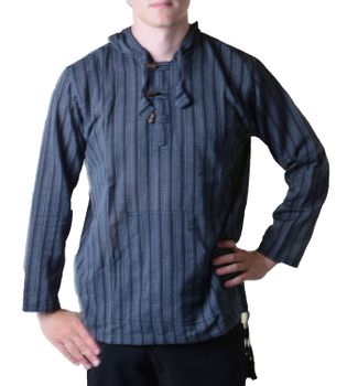 Striped Fisherman Shirt Kurtha Poncho Medieval with Hood – Bild 1