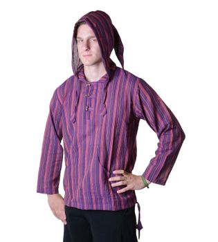Striped Fisherman Shirt Kurtha Poncho Medieval with Hood – Bild 9