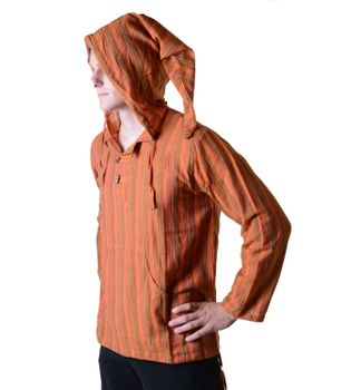 Striped Fisherman Shirt Kurtha Poncho Medieval with Hood – Bild 7
