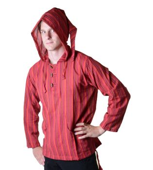 Striped Fisherman Shirt Kurtha Poncho Medieval with Hood – Bild 12