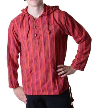 Striped Fisherman Shirt Kurtha Poncho Medieval with Hood – Bild 11