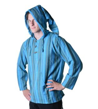 Striped Fisherman Shirt Kurtha Poncho Medieval with Hood – Bild 15