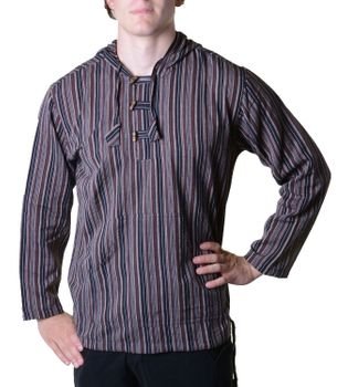 Striped Fisherman Shirt Kurtha Poncho Medieval with Hood – Bild 19
