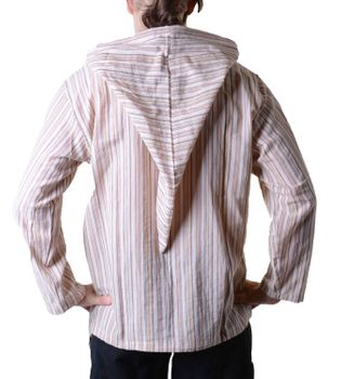 Striped Fisherman Shirt Kurtha Poncho Medieval with Hood – Bild 6